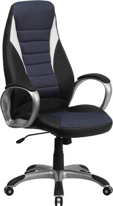 CH-CX0243H-SAT-GG High Back Black Vinyl Executive Office Chair with Blue Mesh