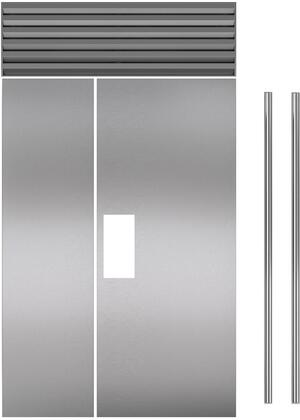 Set of 2 Door Panel Set with Tubular Handles for Flush Inset  in Stainless