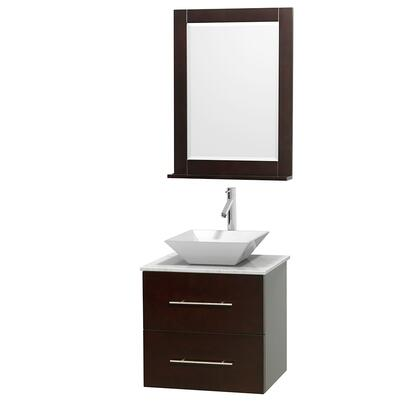Wcvw00924sescmd2wm24 24 In. Single Bathroom Vanity In Espresso  White Carrera Marble Countertop  Pyra White Porcelain Sink  And 24 In.