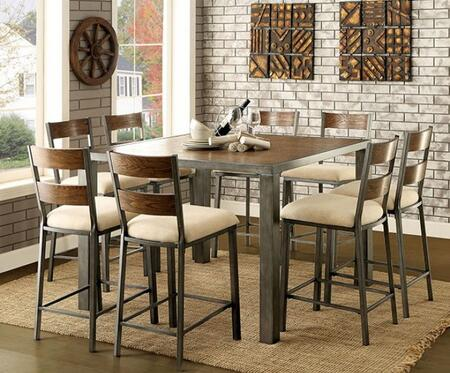 Jazlyn II Collection CM3686PT8PC 9-Piece Dining Room Set with Counter Height Square Table and 8 Counter Height Chairs in Weathered