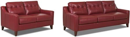 Audrina Collection LT31600KL2PCSTLKIT1 2-Piece Living Room Sets with Stationary Sofa  and Loveseat in Durango Strawberry and Casper