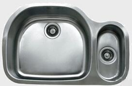 D537.70.30.10L 32 inch  Wide Undermount Double Bowl Sink - 18-Gauge: Stainless Steel Big Bowl Location