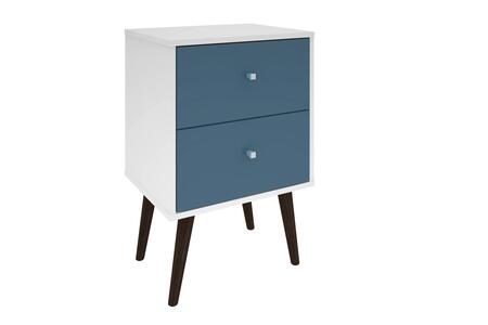 """Liberty 2.0 Collection 204AMC64 18"""" Mid Century - Modern Nightstand with 2 Full Extension Drawers and Solid Wood Legs in White and Aqua"""