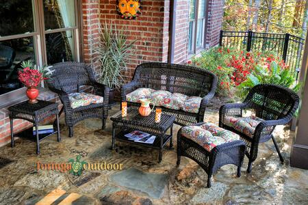 Portside PS6S-DK RST ZOECS 6-Piece Seating Patio Set with Loveseat  Coffee Table  Side Table  2 Chairs and Ottoman in Dark Roast with Zoe Citrus