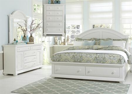 Summer House I Collection 607-BR-KSBDMC 4-Piece Bedroom Set with King Storage Bed  Dresser  Mirror and Chest in Oyster White