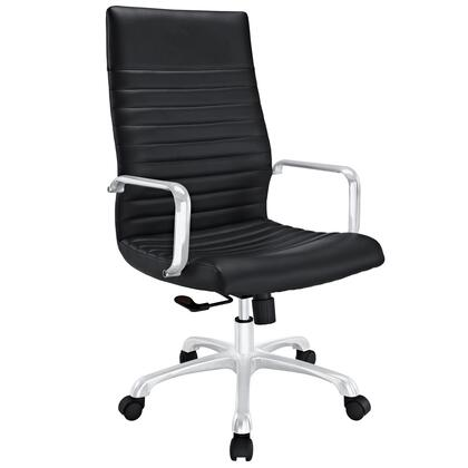 Finesse Collection EEI-1061-BLK Office Chair with 360 Degree Swivel  High Backrest  Adjustable Height  Polished Aluminum Frame and Ribbed Vinyl Upholstery in