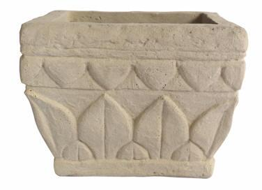 Verona Collection PL-S1209 12 Square Planter with Cast Limestone Construction and Leaf Design in Natural