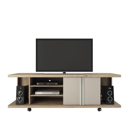 14555 Manhattan Comfort 5- Shelf Carnegie TV Stand in Nature and Nude/ Pro 474977