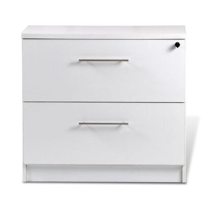 "100 Collection 132202-WH 32"" Lateral File Cabinet with 2 Anti Tilt Drawers  Central Locking System  High Pressure Melamine  Medium-Density Fiberboard (MDF)"