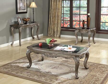 Chantelle Collection 80540CES 3 PC Living Room Table Set with Coffee Table  End Table and Sofa Table in Antique Platinum