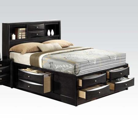 Ireland Collection 21620F Full Size Bed with Storage Drawers  Storage Bookcase  Brushed Nickel Hardware  Rubberwood and Okume Veneer Materials in Black