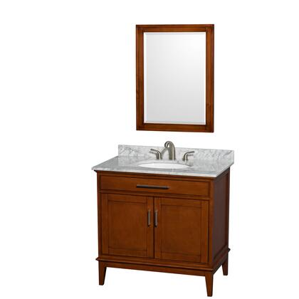 Wcv161636sclcmunrm24 36 In. Single Bathroom Vanity In Light Chestnut  White Carrera Marble Countertop  Undermount Oval Sink  And 24 In.