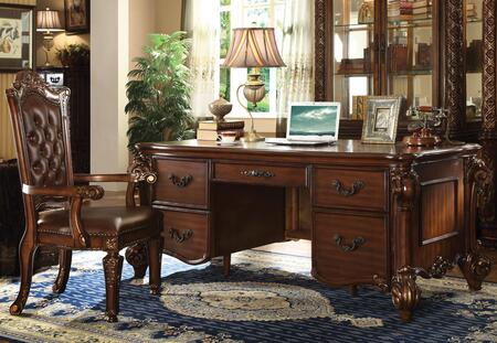 92125DCH Vendome Office Desk + Chair with 5 Drawers  Handcrafted Design and Wood Carving Details in Cherry