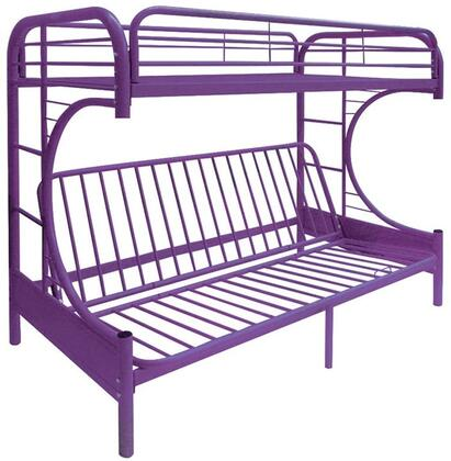 Eclipse Collection 02091WPU Twin/Full/Futon Bunk Bed with Full Length Guard Rail  Metal Tube Slats Included and Built-In Side Ladders in Purple