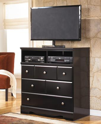 "Shay B271-39 38"""" 3-Drawer Media Chest with 2 Open Compartments  Side Roller Glides and Satin Nickel Colored Knobs in an Almost Black"" 358367"
