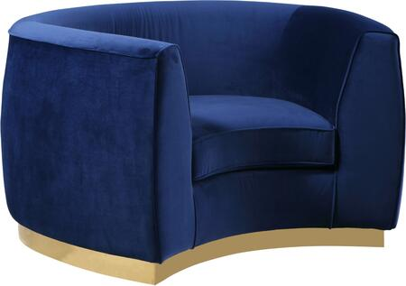 Julian 620Navy-C Chair with Velvet Upholstery  Gold Stainless Steel Base and Curved Back Design in