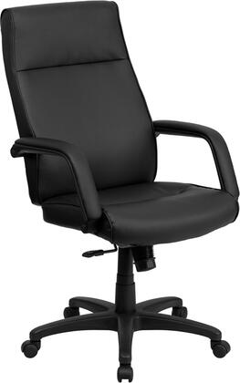 BT-90033H-BK-GG High Back Black Leather Executive Office Chair with Memory Foam