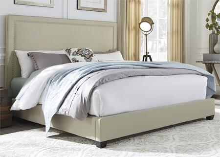 100-BR-QPB Queen Panel Bed with Nail Head Trim  Fabric Upholstery and Tapered Block Feet in Natural Linen