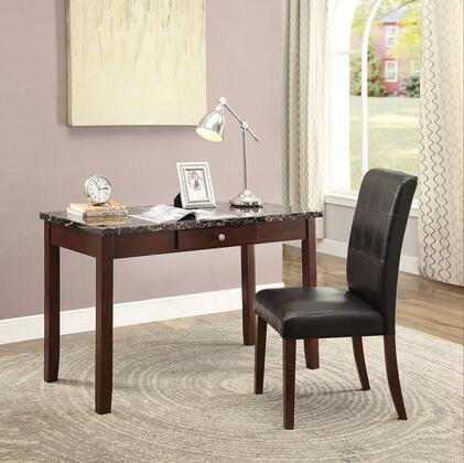 Sydney Collection 92211 2 PC Desk and Chair Set with 1 Draawer  Black Faux Marble Top  Faux Leather Seat Cushion and Engineered Wood Construction in Dark