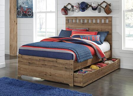 Brobern Collection B173-87-84-86-60-B100-12 Full Size Panel Bed with Trundle  Vertical Slatted Headboard Crown  Clean Line Design and Replicated Oak Grain