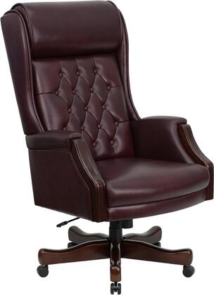 KC-C696TG-GG High Back Traditional Tufted Burgundy Leather Executive Office