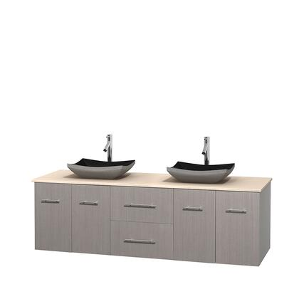 Wcvw00972dgoivgs1mxx 72 In. Double Bathroom Vanity In Gray Oak  Ivory Marble Countertop  Altair Black Granite Sinks  And No