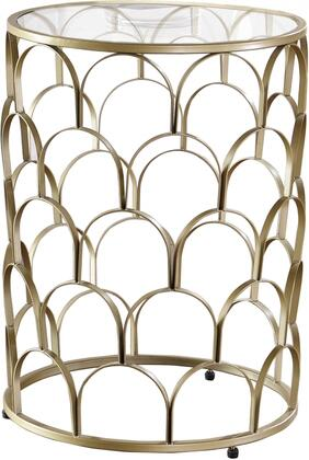Finn Collection 225-E 16 inch  End Table with Semi-Circular Pattern  Grid Shape  Clear Glass Top  Sculptural Base and Stainless Steel Frame in Gold