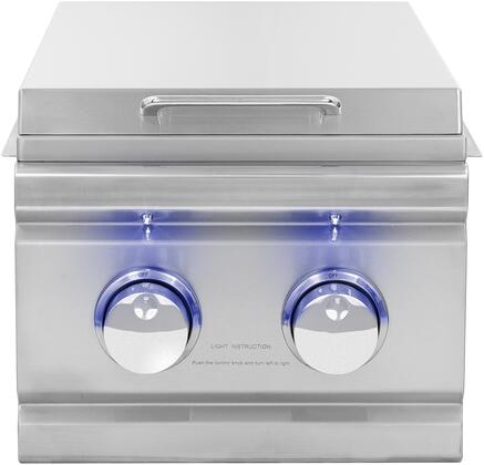 TRLSB-2-NG Natural Gas Double Side Burner with LED Front Panel Lighting  Brass Ring Burners  30000 Total BTU  in Stainless