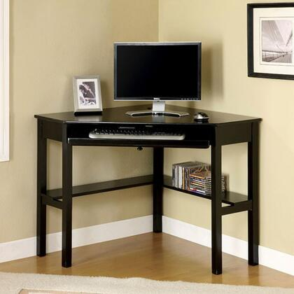 Porto CM-DK6643 Corner Desk with Keyboard Tray  Metal  Solid Wood and Others  Open Shelf  Black Finish in