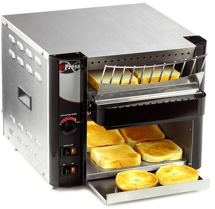 AT EXPRESS 15 inch  Radiant Conveyor Toaster Generates 300 Slices per Hour  Cool Touch Exterior and Warming Area  in Stainless Steel
