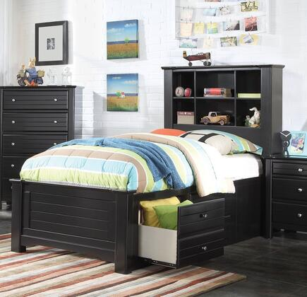 Mallowsea 30385F Full Size Bed with Storage Rail Drawers  6 Compartment Bookcase Headboard  Low Profile Footboard and Pine Wood Construction in Black