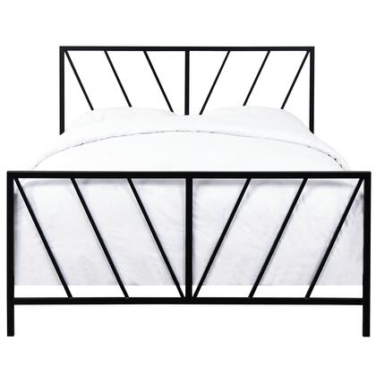 DSD172290M03 All-In-One Black High Gloss Chevron Patterned Queen Metal Bed