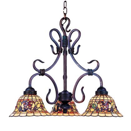 Elk Lighting 363-VA Tiffany Buckingham 3-Light Chandelier In Vintage Antique /w Tiffany Style Glass (Shipping Included) 363-VA