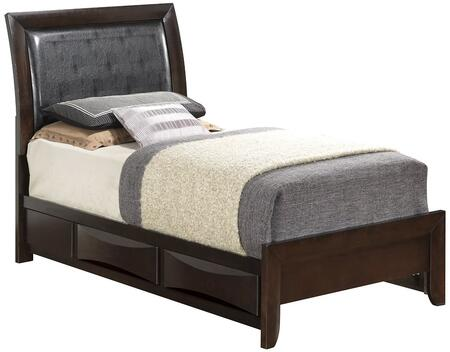 G1525DDTSB2 Twin Size Bed with Wood Veneers  Dovetailed Drawer  Beveled Edge and Tapered Legs in