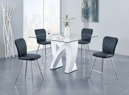 D9913BT4D1066BSBL 5-Piece Bar Set with Bar Table and 4 Bar Stools in White and