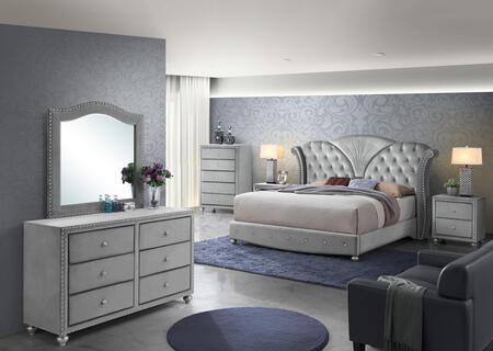 Alana Collection ALANA KING BED SILVER SET 6-Piece Bedroom Set with King Size Bed  Dresser  Mirror  Chest and 2 Nightstands in