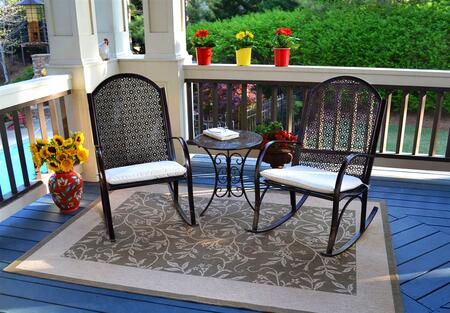 Garden Collection GR-3PC 3-Piece Bistro Set with Two Rocking Chairs and Side Table in Oiled Copper