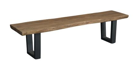 75355 68 inch  Dining Bench with Wood Seat  Eased Edges and U-shaped Metal Legs in Sequoia Light Brown