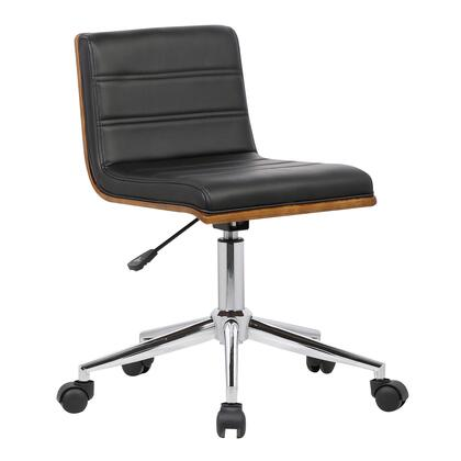 Bowie Collection LCBOOFCHBLACK Mid-Century Office Chair in Chrome finish with Black Faux Leather and Walnut Veneer