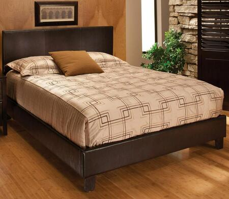 Harbortown 1611BQR Queen Sized Bed with Headboard  Footboard and Rails  Flex Deck Support and Vinyl Upholstery in Brown