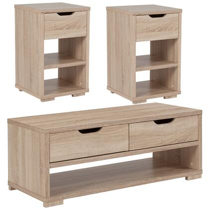 Howell Collection EV-8-GG 3 Piece Coffee And End Table Set With Storage Drawers In Sonoma Oak Wood Grain