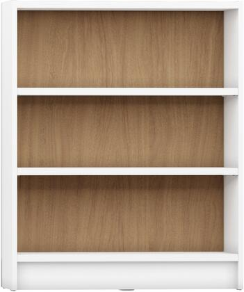 """Greenwich Collection 160353 33"""" 3-Shelf Wide Grande 1.0 Bookcase with 3 Adjustable Shelves  Sleek Metal Hardware and Closed Base in White Matte and Maple"""