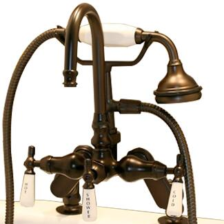 CAM684D-ORB Clawfoot Tub Deck Mount Porcelain Lever English Telephone Brass Faucet with Hand Held Shower - Oil Rubbed