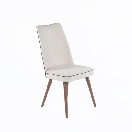 Featherston FEC6739BGE Side Chair with Solid Wood Legs  Piped Stitching and Fabric Upholstery in