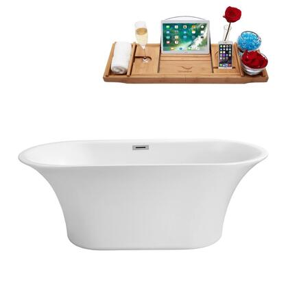 N84059FSWHFM 59 inch  Soaking Freestanding Tub with Internal Drain  Chrome Color Drain Assembly  130 Gallons Water Capacity  and Acrylic/Fiberglass Construction  in