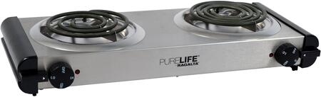 RCB-20 Portable Electric Double Burner with Adjustable Temperature Control Knob  Stainless Steel Drip Pan  Power Light Indicator and Self Cleaning Element
