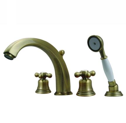 514463TFP Blairhaus McKinley deck mount tub filler set with smooth lined arcing spout  bell-shaped cross handles  beveled escutcheons  hand held shower with