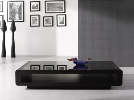 17515 Modern Coffee Table 673 with Coffee Color Glass Top and  Solid Oak Veneer Construction in Dark Oak