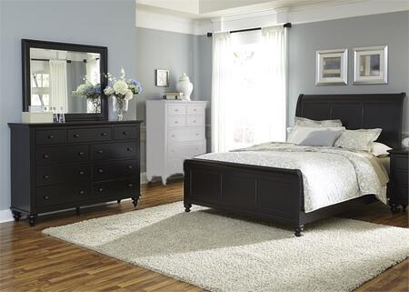 Hamilton III Collection 441-BR-KSLDM 3-Piece Bedroom Set with King Sleigh Bed  Dresser and Mirror in Black