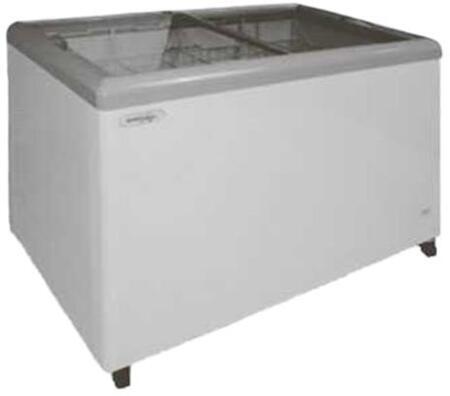 MXF52F Freezer with 14 cu. ft.  Recessed Sliding Door Handle  Aluminum Interior  White Exterior   Light  Temperature Display  Front Facing Drainage  Front